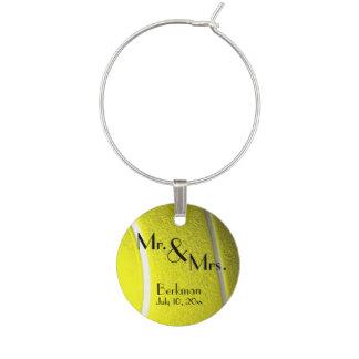 Identificador De Copa Sr. y señora Wine Tag de la pelota de tenis