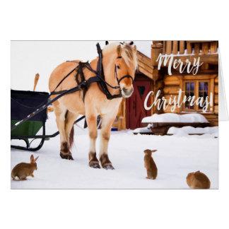 Idilio de la granja del país del navidad al aire tarjeta