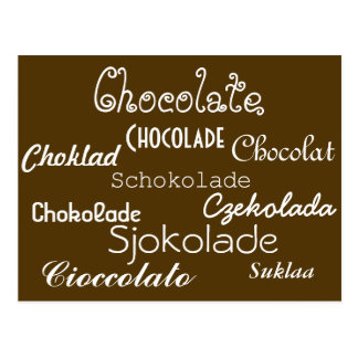 Idiomas de la postal del chocolate