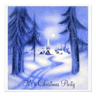 Iglesia azul hermosa del navidad de la nieve anuncio