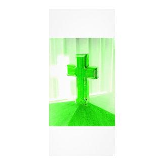 Iglesia cruzada de madera verde de la imagen de la lona personalizada