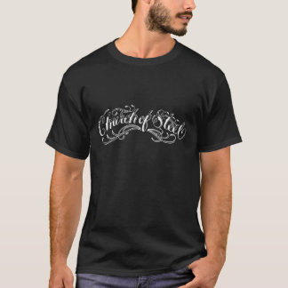 Iglesia de la camiseta oscura para hombre de acero