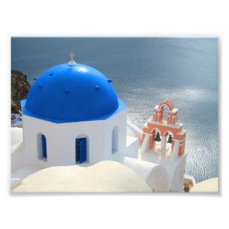 Iglesia de Santorini por la tarde Sun Foto