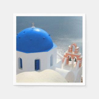 Iglesia de Santorini por la tarde Sun Servilleta De Papel