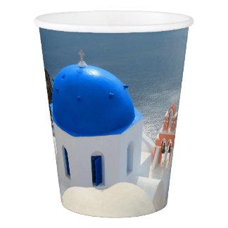Iglesia de Santorini por la tarde Sun Vaso De Papel