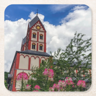 Iglesia de St Bartholomew, Lieja, Bélgica Posavasos De Papel Cuadrado