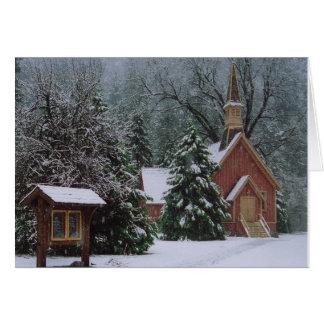 Iglesia de Yosemite en nieve Tarjeta De Felicitación