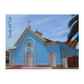 iglesia del azul de punta del este postal