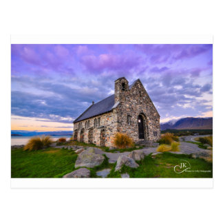Iglesia del buen lago Tekapo NZ shepherd: Postca Postal