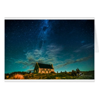 Iglesia del buen pastor Tekapo en la noche Tarjeta De Felicitación