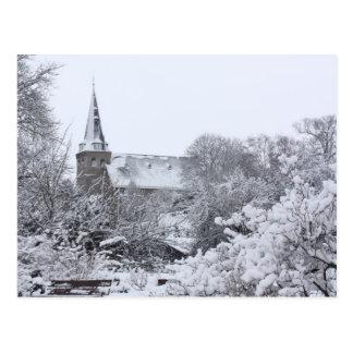 iglesia en nieve postal