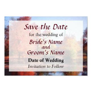 Iglesia en reserva del otoño la fecha invitacion personalizada