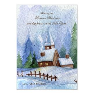 Iglesia en tarjetas de Navidad de la nieve Invitación 12,7 X 17,8 Cm