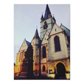 Iglesia evangélica en la noche invitación 16,5 x 22,2 cm