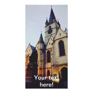 Iglesia evangélica en la noche plantilla para tarjeta de foto