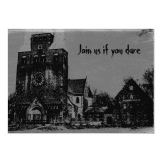Iglesia frecuentada apenada fantasmagórica vieja invitación 12,7 x 17,8 cm