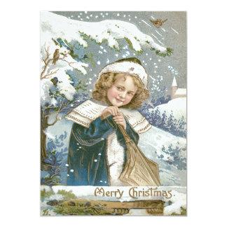 Iglesia linda del árbol de la nieve de la niña invitación 12,7 x 17,8 cm