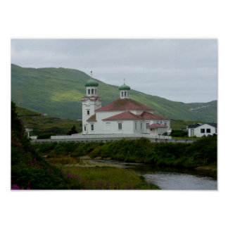 Iglesia ortodoxa rusa en la isla de Unalaska Póster
