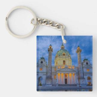 Iglesia San Carlos, Viena Llavero Cuadrado Acrílico A Doble Cara