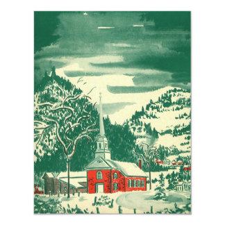 Iglesia Snowscape del navidad del vintage en Invitación 10,8 X 13,9 Cm