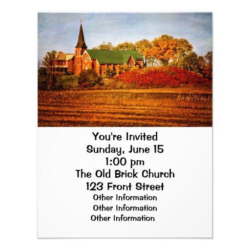 Iglesia vieja con colores de la caída invitaciones personalizada