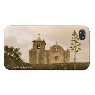 Iglesia-Vintage/sepia de Goliad Tejas iPhone 4/4S Carcasa