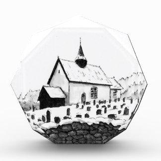 iglesia y cementerio en el dibujo del paisaje de