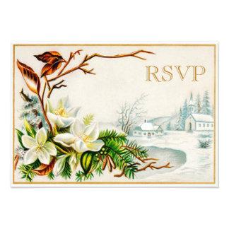 Iglesia y lirios de la nieve del invierno del invitacion personalizada