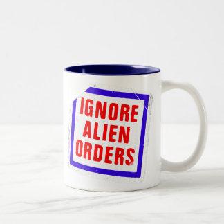 Ignore las órdenes extranjeras. Pegatina de la Taza De Café De Dos Colores
