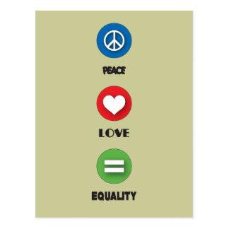 Igualdad del amor de la paz del orgullo gay postal