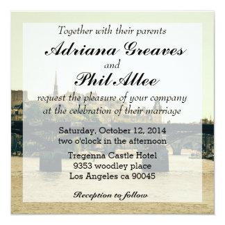 Ile De La Cite, Pont des Arts en París, Francia Invitación 13,3 Cm X 13,3cm