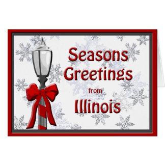 Illinois sazona el copo de nieve de la lámpara de  felicitación