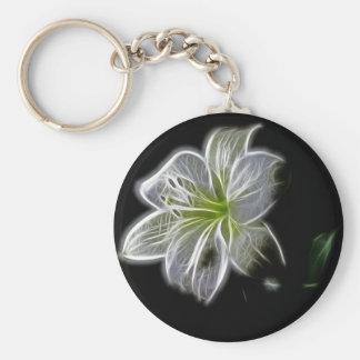 Iluminado como esquema de una flor del lirio llavero redondo tipo chapa