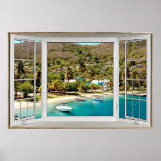 Ilusión blanca el Caribe de la ventana salediza Póster