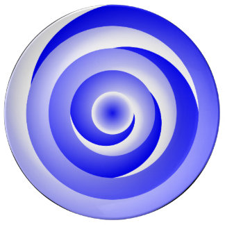 Ilusión espiral azul de Kenneth Yoncich Plato De Porcelana
