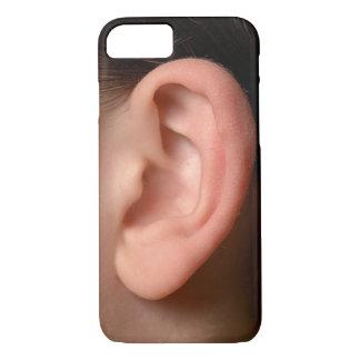Ilusión izquierda chistosa de la foto del oído del funda iPhone 7