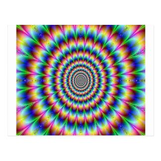 Ilusión móvil del círculo psicodélico que postal