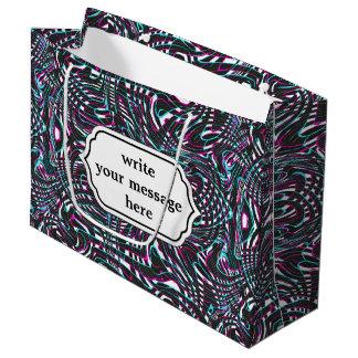 Ilusión óptica de las rayas onduladas púrpuras bolsa de regalo grande