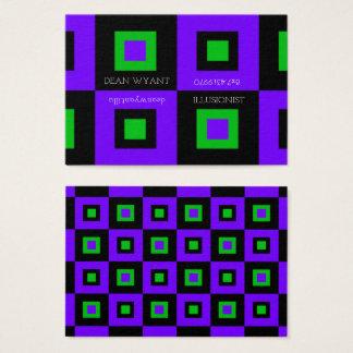 Ilusión verde violeta y ácida del tablero de damas tarjeta de negocios