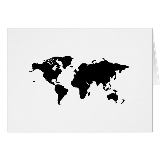Ilustracion blanco y negro del mundo tarjeta de felicitación