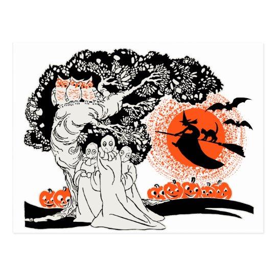 Ilustracion de Halloween del vintage Postal