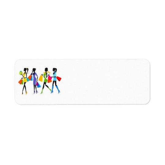 Ilustracion de los chicas de compras de la moda etiquetas de remite