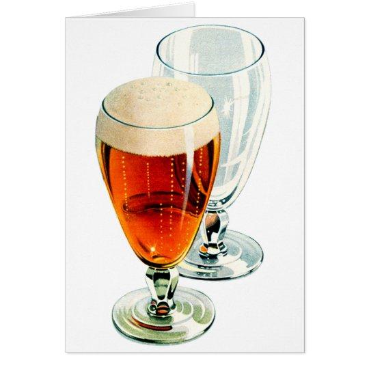 Ilustracion escarchado de los vidrios de cerveza tarjeta de felicitación