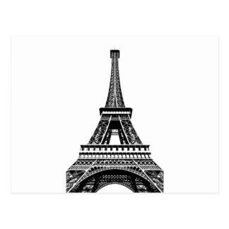 Ilustraciones blancas negras del arte de París Postal