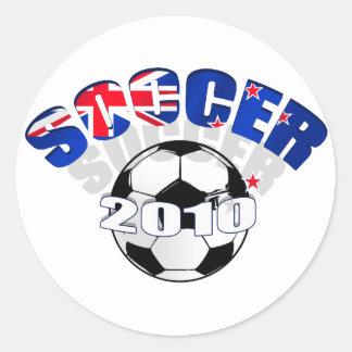 Ilustraciones del balón de fútbol de la bandera de pegatinas redondas