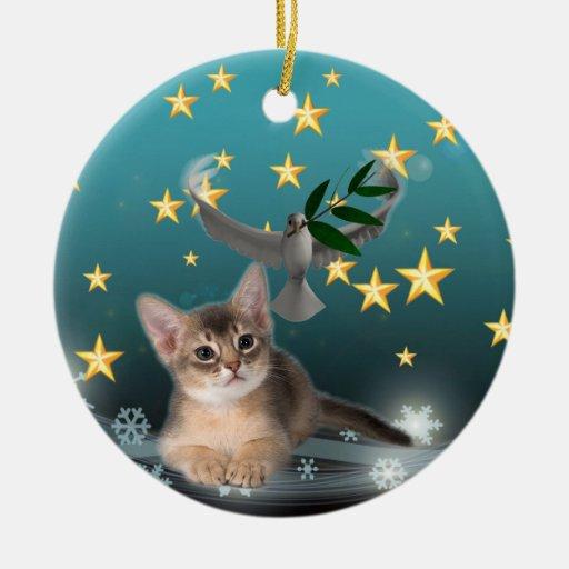 Ilustraciones del gatito de la paz y de la alegría ornamentos de navidad