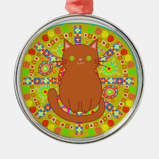 Ilustraciones del gato del Hippie Adorno Redondo Plateado