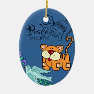 Ilustraciones del gato y de la paloma de la paz adorno navideño ovalado de cerámica