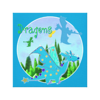 Ilustraciones frescas del dragón para los niños lona envuelta para galerías