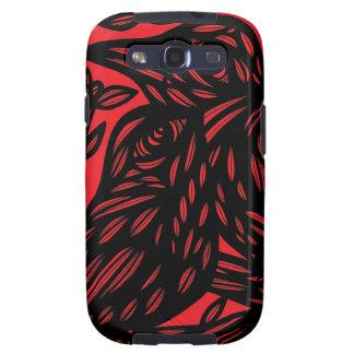 Ilustraciones negras rojas del animal del pájaro galaxy SIII carcasas